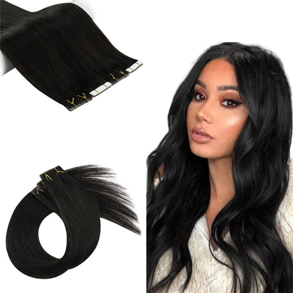 Tape Extension Invisible Φυσική Τρίχα Remy Μαύρα Off Black No 1B