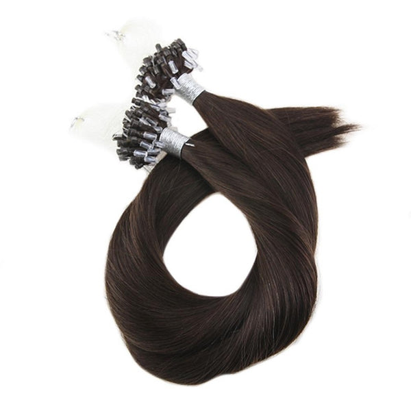 Micro Ring Loop Hair Extensions Φυσική Τρίχα Remy Καστανό Σκούρο No 2