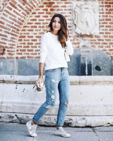 Casual outfit blue jeans white top lazy morning classic look