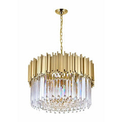 Deco 7 Light Down Chandelier with Medallion Gold Finish by CWI Lighting 1112P24-7-169