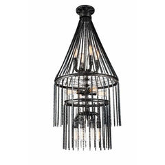 Kala 12 Light Chandelier with Gray finish by CWI Lighting 9717P24-12-187