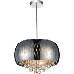 Movement 6 Light Drum Shade Chandelier with Chrome finish by CWI Lighting 5606P20C-B Smoke
