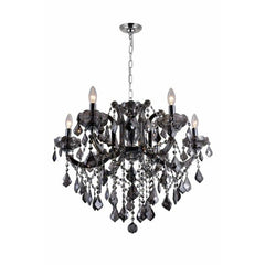 Riley 6 Light Up Chandelier with Chrome finish by CWI Lighting 8399P26C-6 (Smoke)