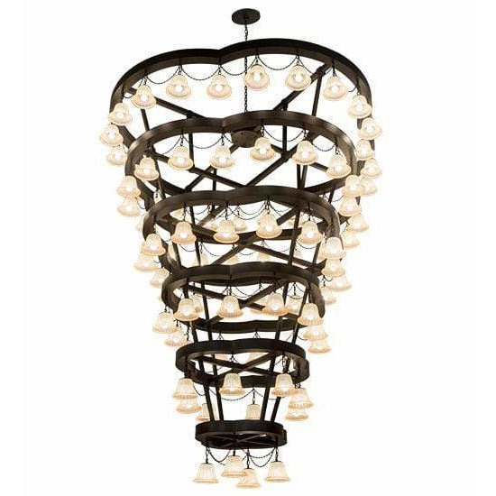 2nd Ave Lighting Chandeliers Solar Black / Beige Glass / Glass Fabric Idalight Cretella Chandelier By 2nd Ave Lighting 188852