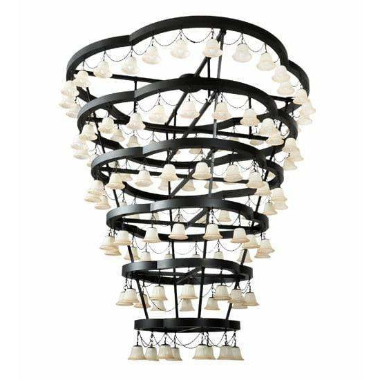 2nd Ave Lighting Chandeliers Solar Black / Beige Glass / Glass Fabric Idalight Cretella Chandelier By 2nd Ave Lighting 188860