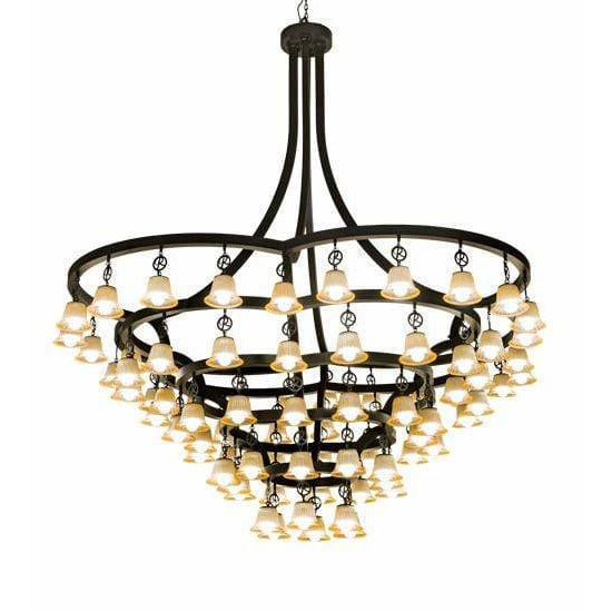 2nd Ave Lighting Chandeliers Solar Black / Beige Glass Cretella Chandelier By 2nd Ave Lighting 194317