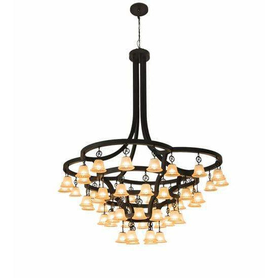 2nd Ave Lighting Chandeliers Solar Black / Beige Glass Cretella Chandelier By 2nd Ave Lighting 197780