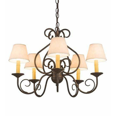 2nd Ave Lighting Chandeliers Golden Bronze / Aged Celadon Parchment Shade Jenna Chandelier By 2nd Ave Lighting 197364