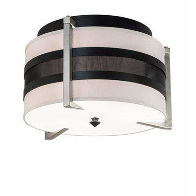 2nd Ave Lighting Flush Mounts Textured Black & Nickel Powder Coat / Amsterdam Chalk Textrene/Statuario Idalight / Fabric/Acrylic Nathan Flush Mount By 2nd Ave Lighting 195621