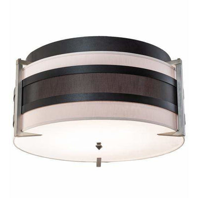 2nd Ave Lighting Flush Mounts Textured Black & Nickel Powder Coat / Amsterdam Chalk Textrene/Statuario Idalight / Fabric/Acrylic Nathan Flush Mount By 2nd Ave Lighting 195622