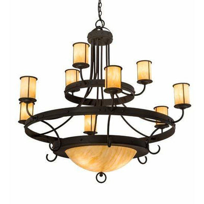 2nd Ave Lighting Chandeliers Wrought Iron / Cream Carrare Idalight Nehring Chandelier By 2nd Ave Lighting 194814