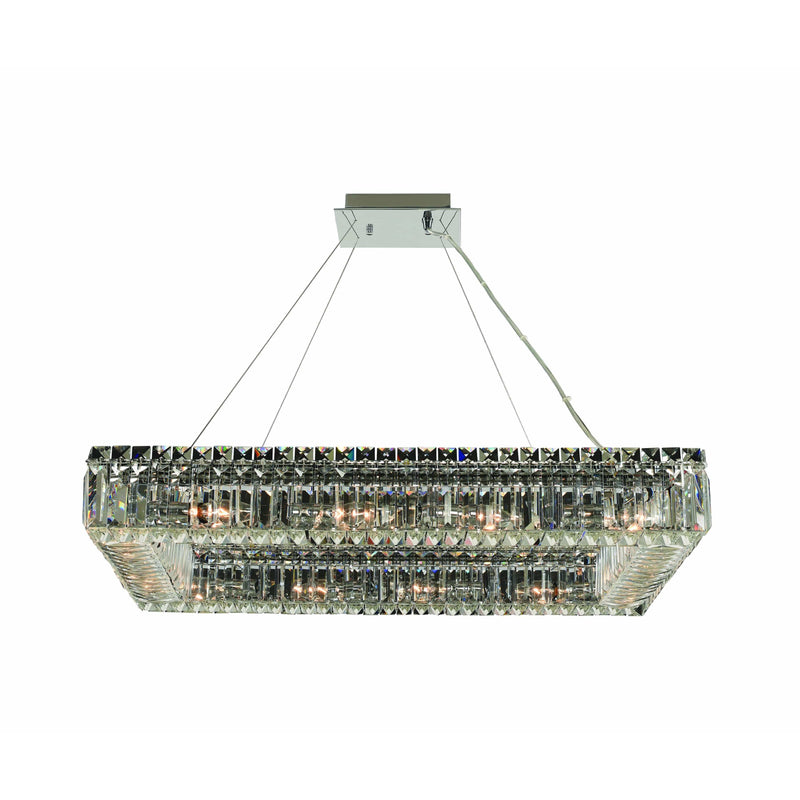 Allegri by Kalco Lighting Pendants Chrome / Firenze Clear Baguette 29 Inch Rectangular Pendant From Allegri by Kalco Lighting 11831