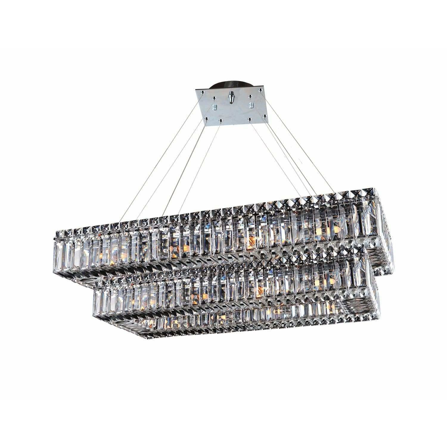 Allegri by Kalco Lighting Pendants Chrome / Firenze Clear Baguette 43 Inch Rectangular 2 Tier Pendant From Allegri by Kalco Lighting 11778