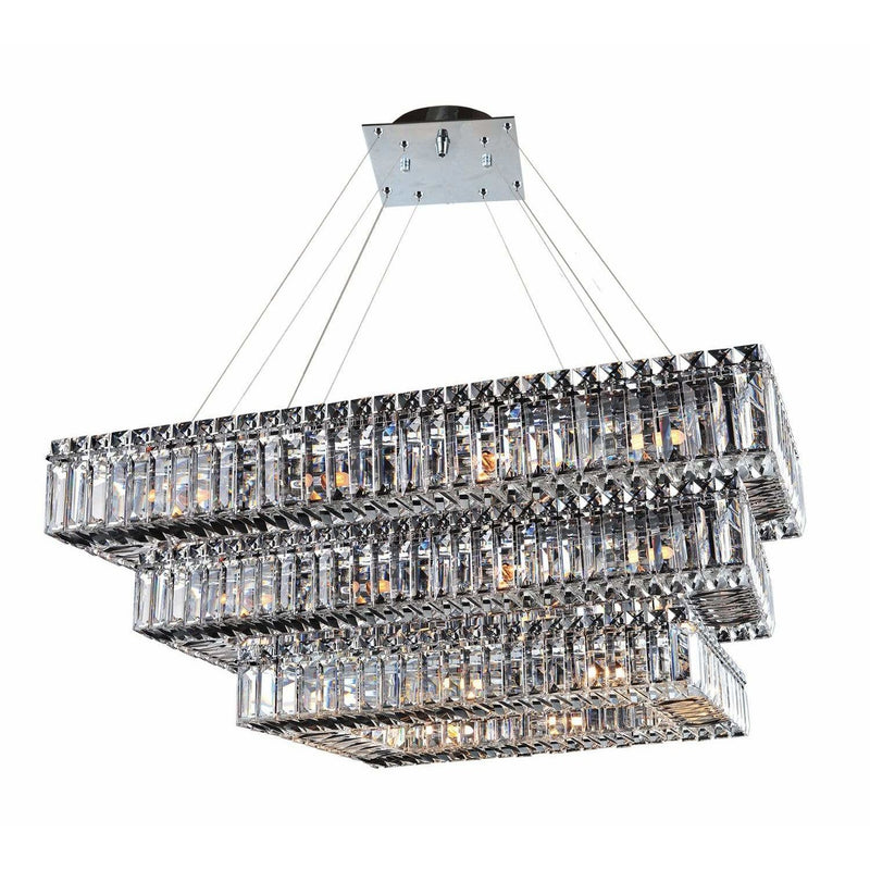 Allegri by Kalco Lighting Pendants Chrome / Firenze Clear Baguette 43 Inch Rectangular 3 Tier Pendant From Allegri by Kalco Lighting 11777