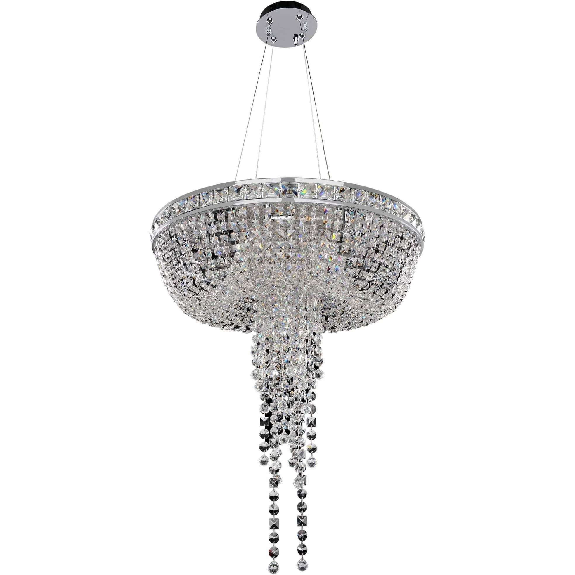Allegri by Kalco Lighting Pendants Chrome / Firenze Clear Cascata 24 Inch Convertible Pendant - Flush Mount From Allegri by Kalco Lighting 027351