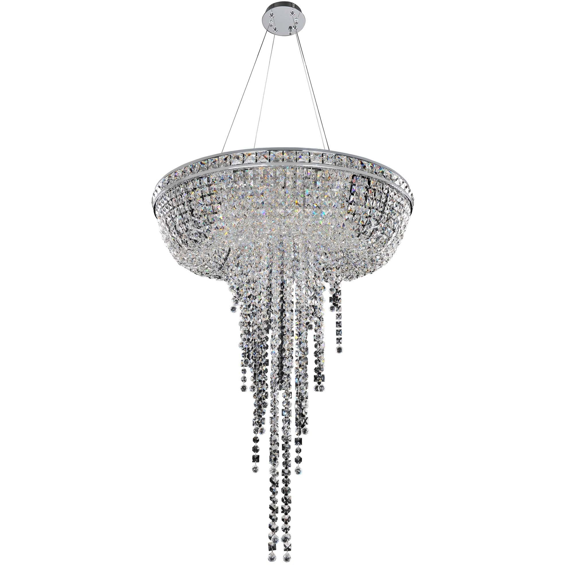 Allegri by Kalco Lighting Pendants Chrome / Firenze Clear Cascata 32 Inch Convertible Pendant - Flush Mount From Allegri by Kalco Lighting 027352