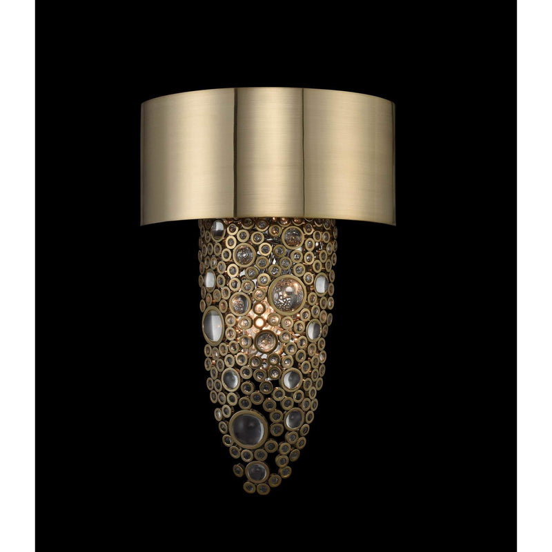 Allegri by Kalco Lighting Wall Sconces Brushed Champagne Gold / Firenze Clear Ciottolo 2 Light Wall Sconce From Allegri by Kalco Lighting 034220