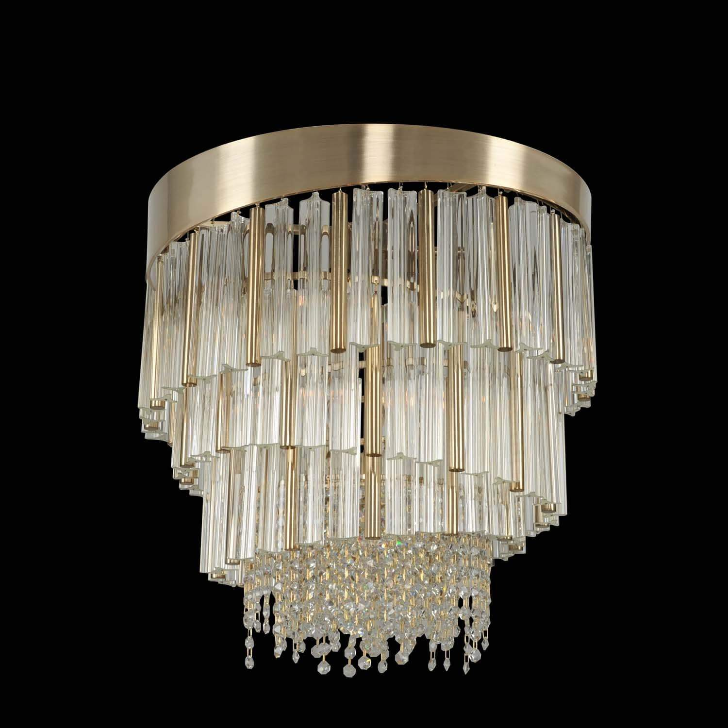 Allegri by Kalco Lighting Pendants Brushed Champagne Gold / Firenze Clear Espirali 20 Inch Convertible Pendant - Semi Flush Mount From Allegri by Kalco Lighting 029850