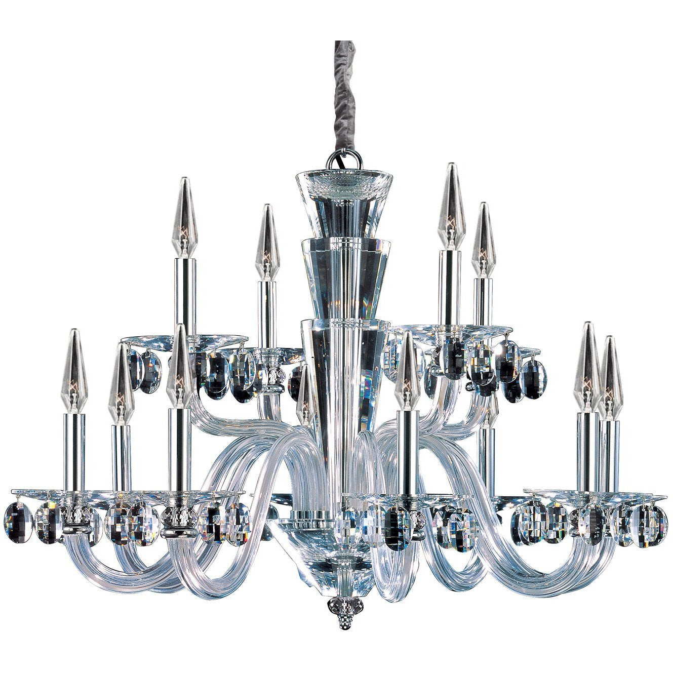 Allegri by Kalco Lighting Chandeliers Chrome / Firenze Clear Fanshawe 12 Light Chandelier From Allegri by Kalco Lighting 11528
