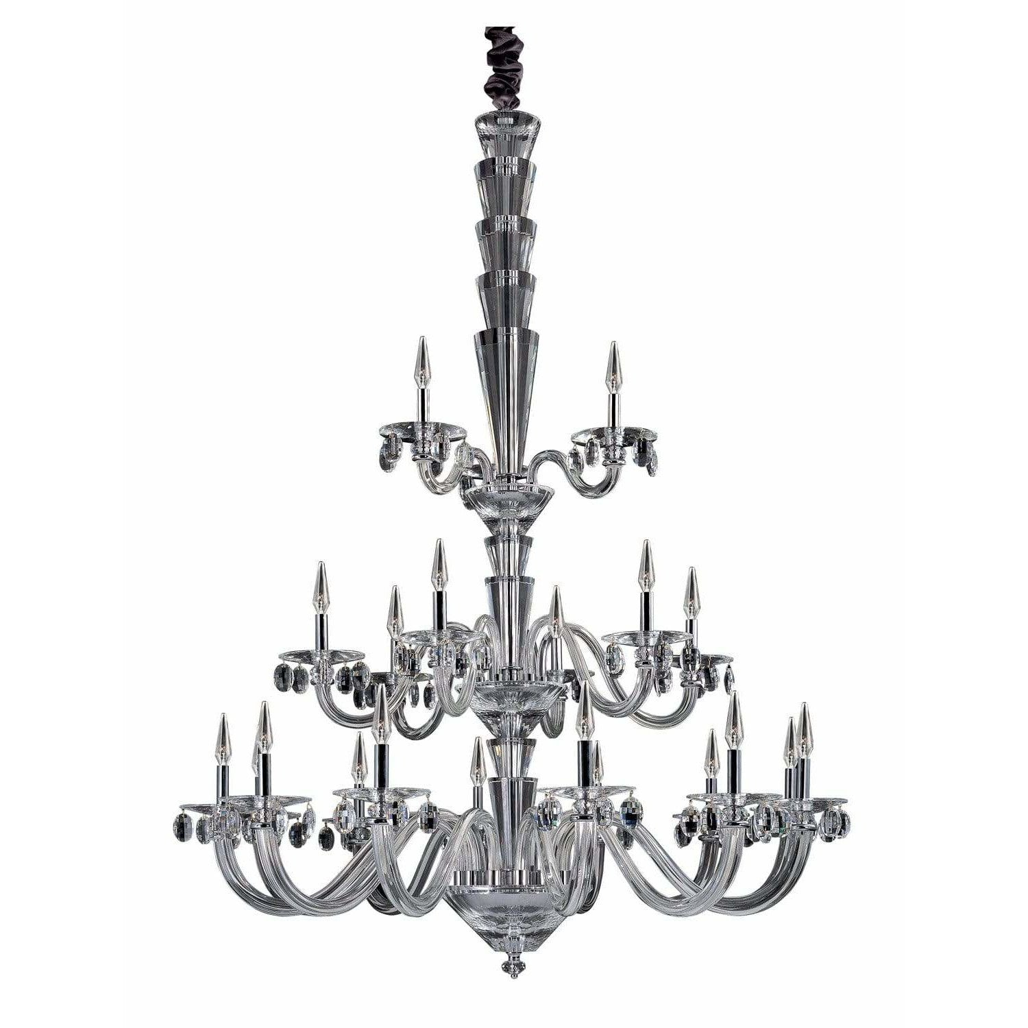 Allegri by Kalco Lighting Chandeliers Chrome / Firenze Clear Fanshawe 21 Light Chandelier From Allegri by Kalco Lighting 11520