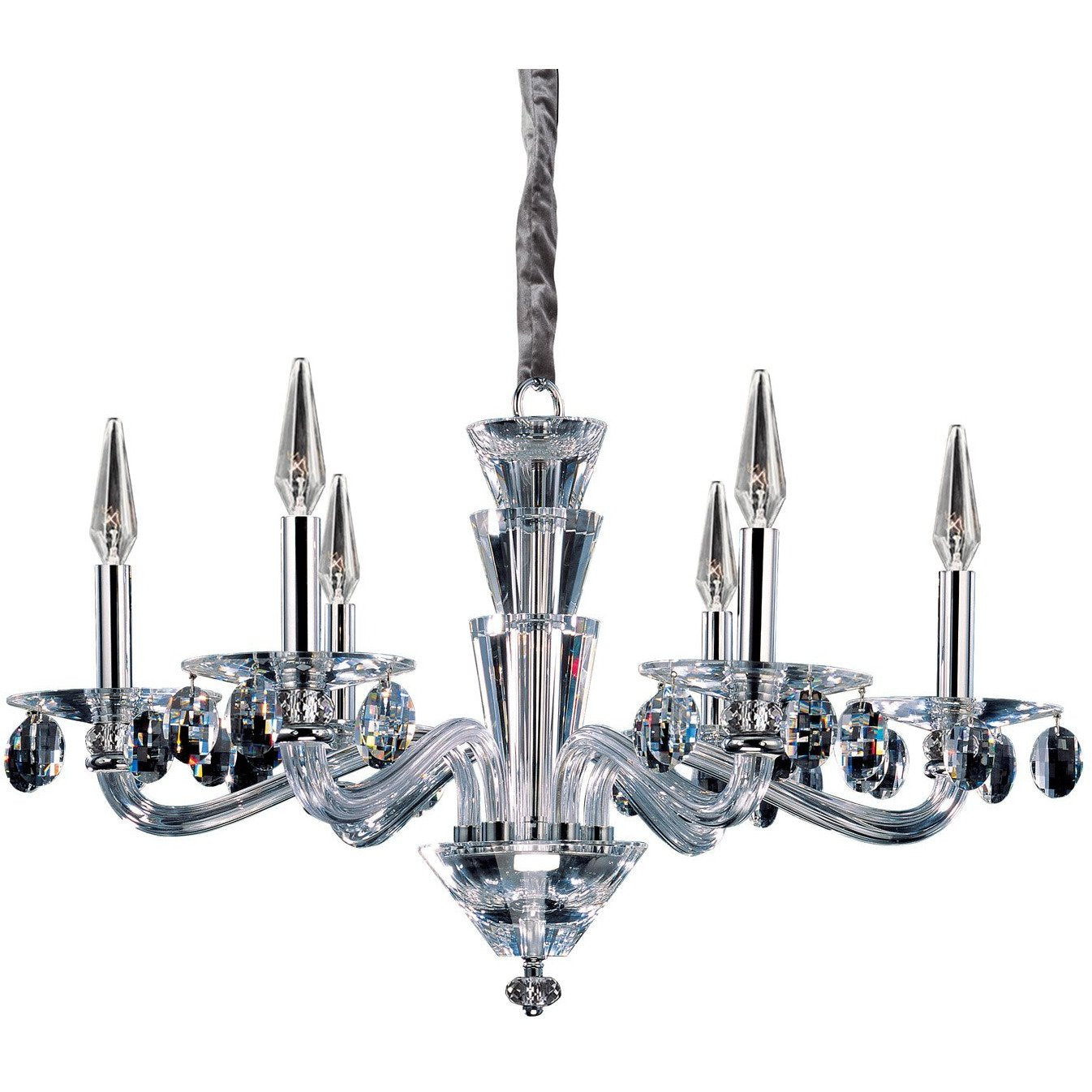Allegri by Kalco Lighting Chandeliers Chrome / Firenze Clear Fanshawe 6 Light Chandelier From Allegri by Kalco Lighting 11527