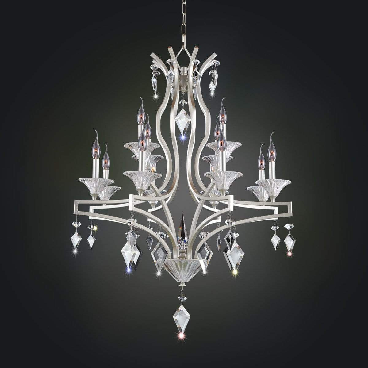 Allegri by Kalco Lighting Chandeliers Tarnished Silver / Firenze Clear Florence 12 Light Chandelier From Allegri by Kalco Lighting 11676