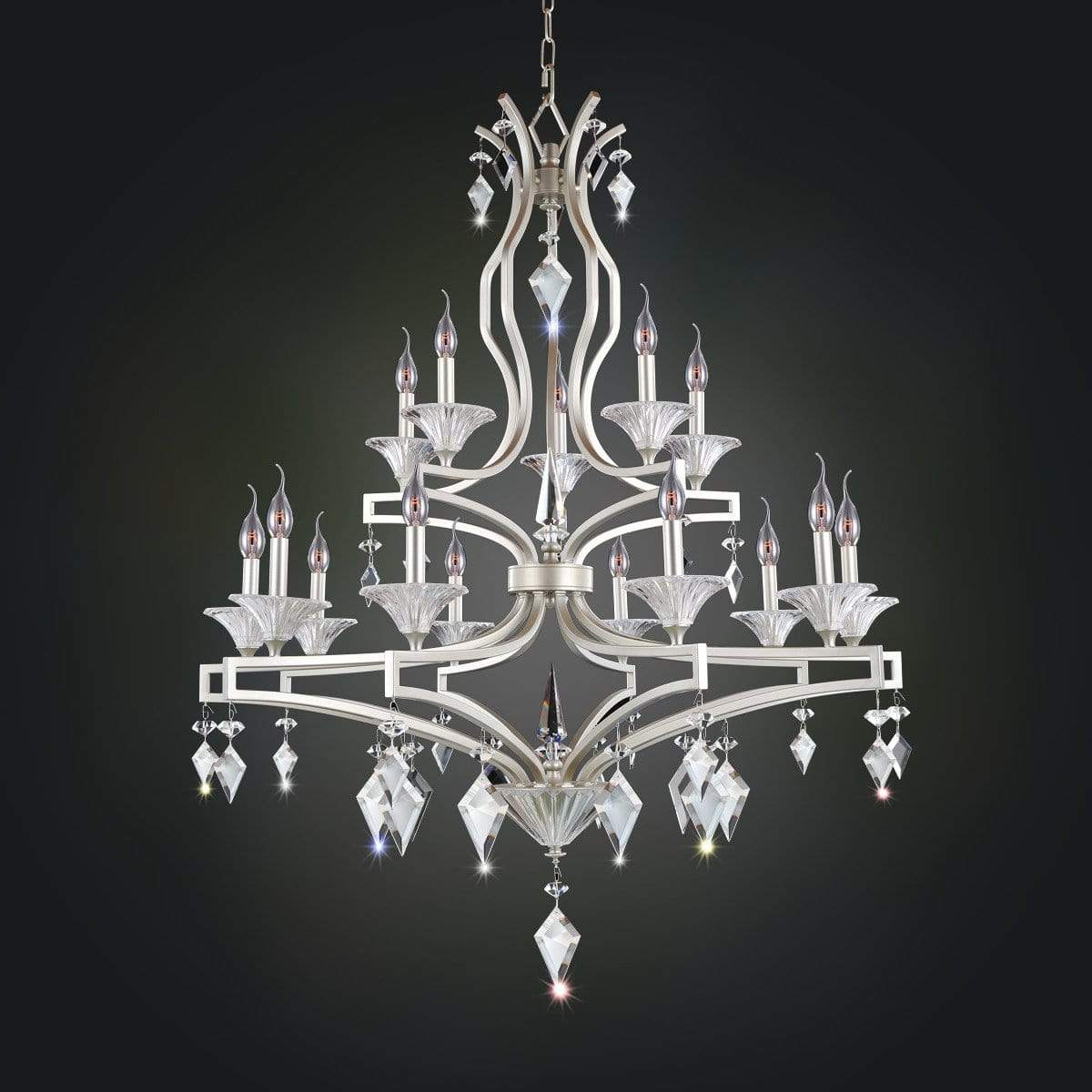 Allegri by Kalco Lighting Chandeliers Tarnished Silver / Firenze Clear Florence 15 Light Chandelier From Allegri by Kalco Lighting 11677