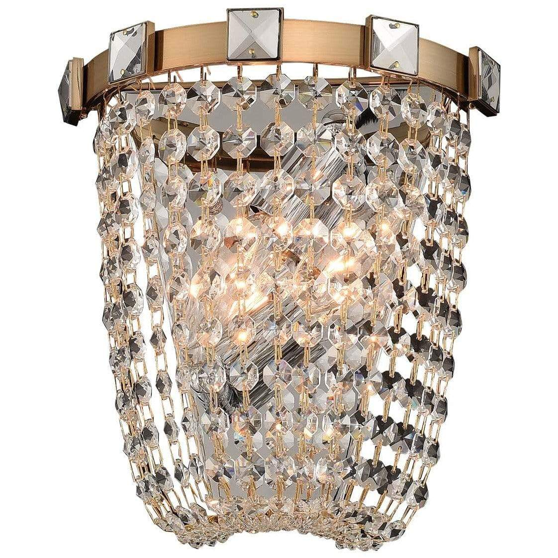 Allegri by Kalco Lighting Wall Sconces Brushed Champagne Gold / Firenze Clear Impero 2 Light Wall Sconce From Allegri by Kalco Lighting 027920