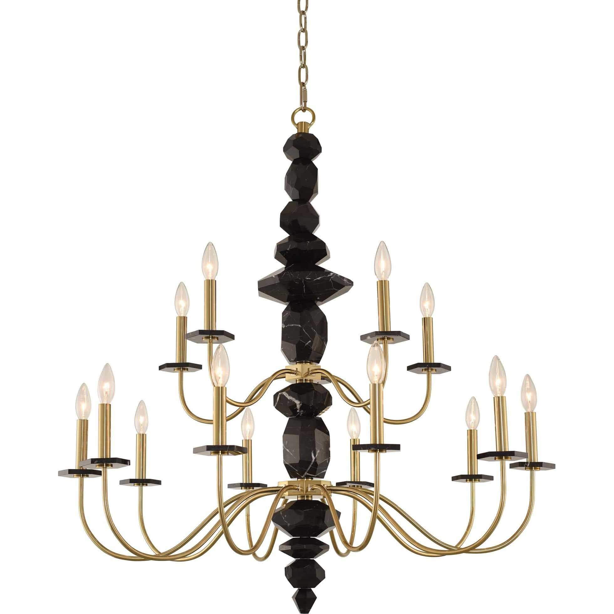 Allegri by Kalco Lighting Chandeliers Brushed Brass / N/A Piedra (10+5) Light 2 Tier Chandelier From Allegri by Kalco Lighting 031552