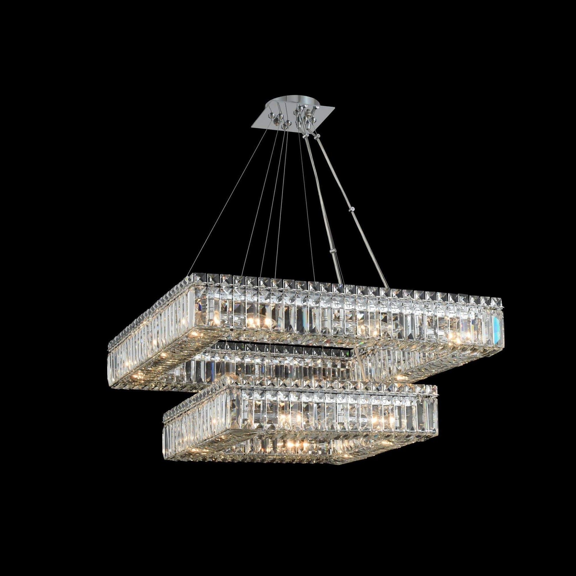 Allegri by Kalco Lighting Pendants Chrome / Firenze Quadro (18 + 27) Inch 2 Tier Pendant From Allegri by Kalco Lighting 11782