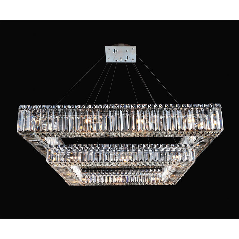 Allegri by Kalco Lighting Pendants Chrome / Firenze Clear Quadro 35 Inch Square 2 Tier Pendant From Allegri by Kalco Lighting 11781