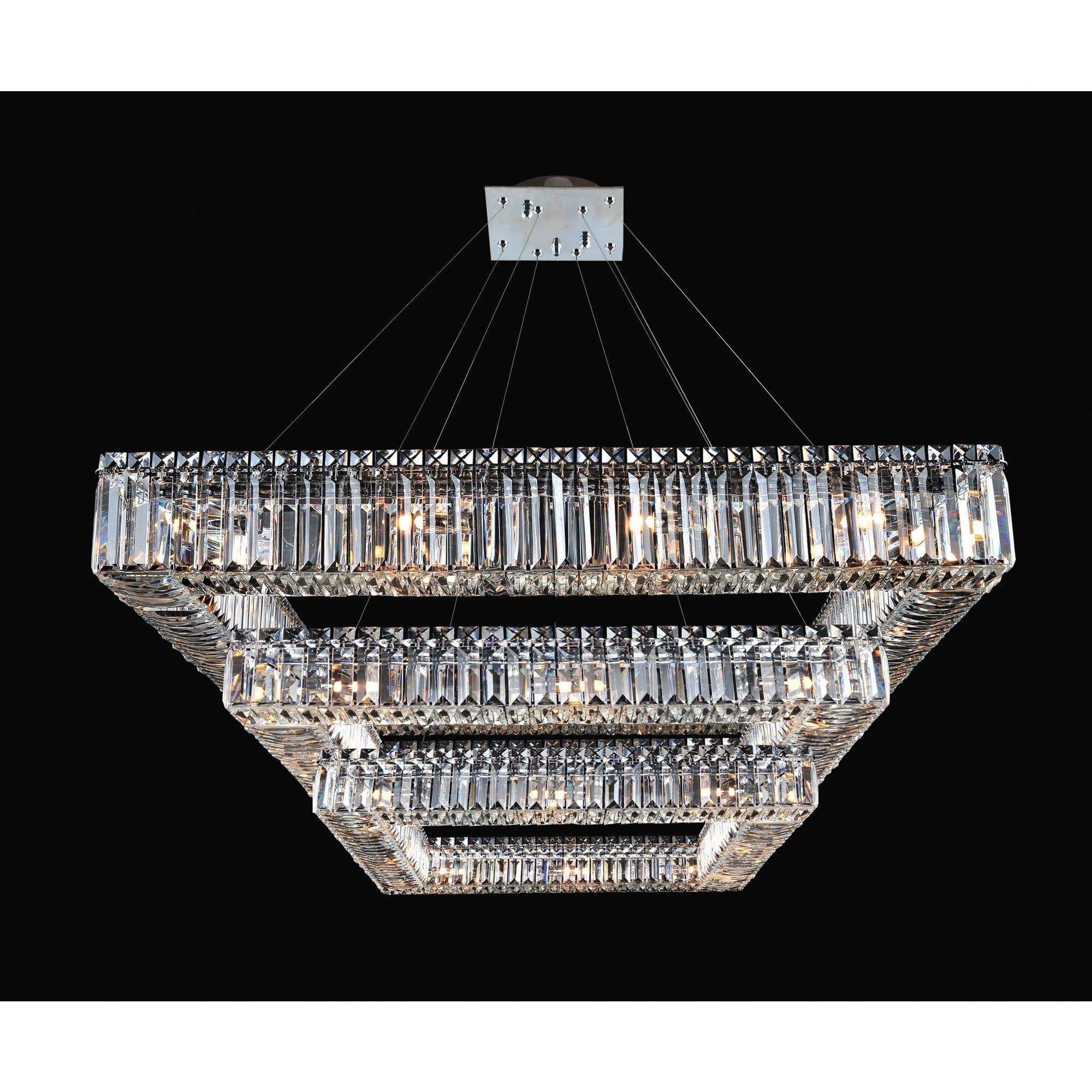 Allegri by Kalco Lighting Pendants Chrome / Firenze Clear Quadro 35 Inch Square 3 Tier Pendant From Allegri by Kalco Lighting 11780