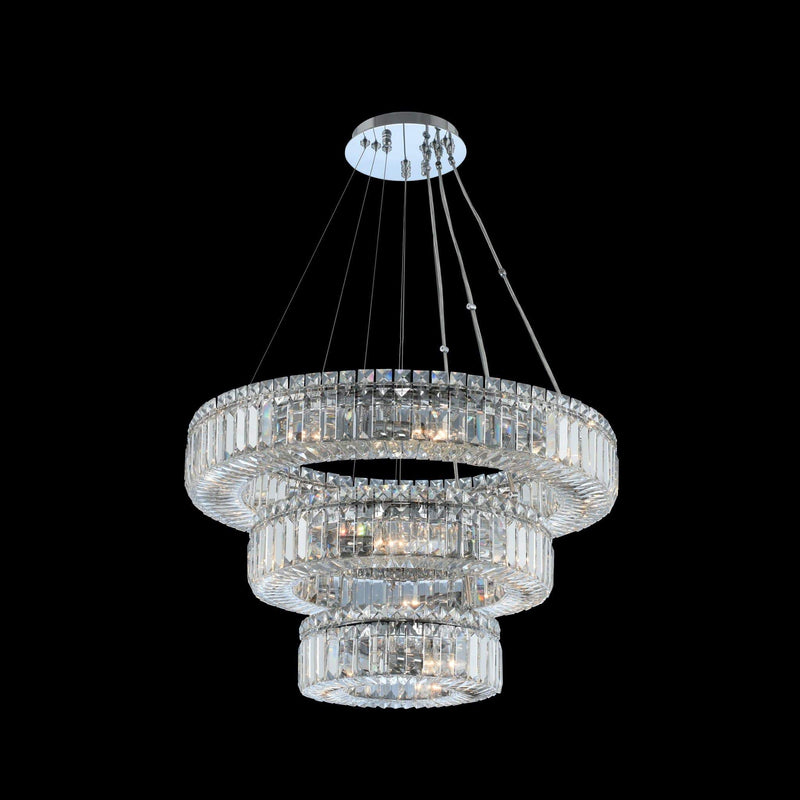 Allegri by Kalco Lighting Pendants Chrome / Firenze Rondelle (12 + 18 + 26) Inch 3 Tier Pendant From Allegri by Kalco Lighting 11772