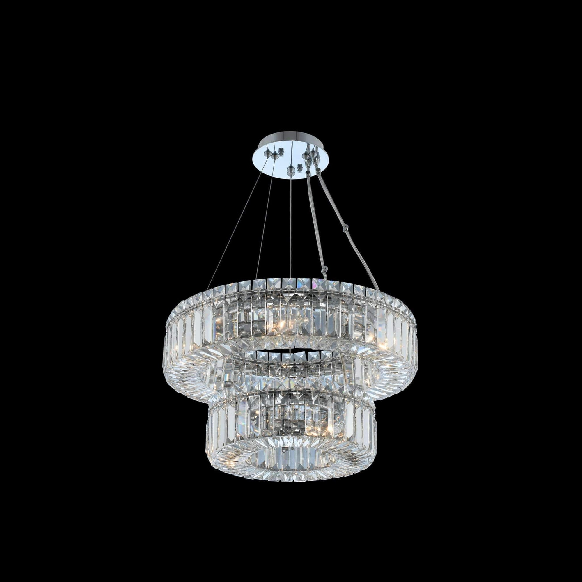 Allegri by Kalco Lighting Pendants Chrome / Firenze Rondelle (12 + 18) Inch 2 Tier Pendant From Allegri by Kalco Lighting 11776