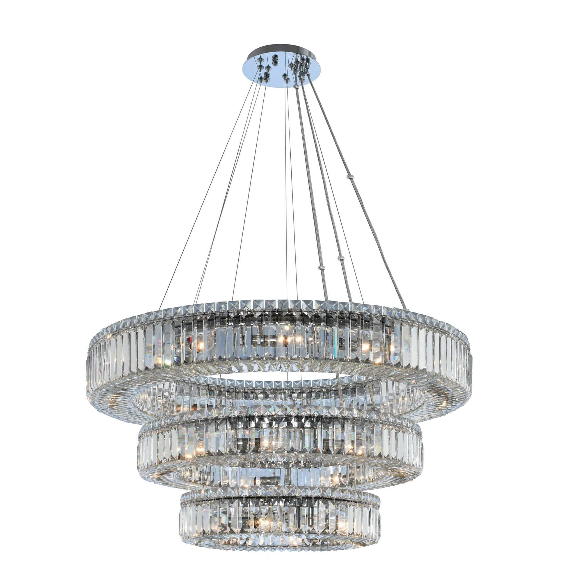 Allegri by Kalco Lighting Pendants Chrome / Firenze Rondelle (18 + 26 + 36) Inch 3 Tier Pendant From Allegri by Kalco Lighting 11771