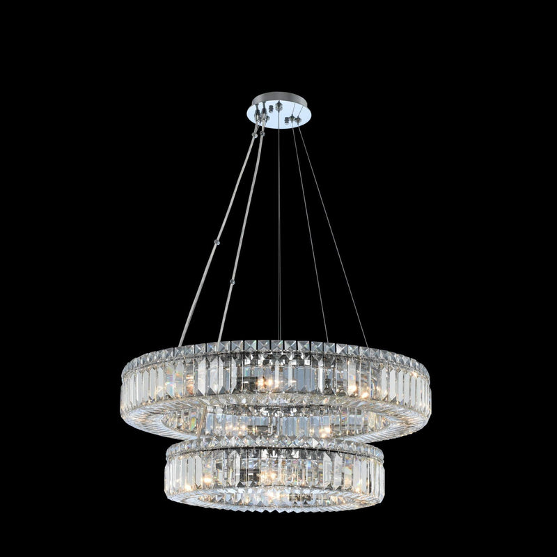 Allegri by Kalco Lighting Pendants Chrome / Firenze Rondelle (18 + 26) Inch 2 Tier Pendant From Allegri by Kalco Lighting 11775