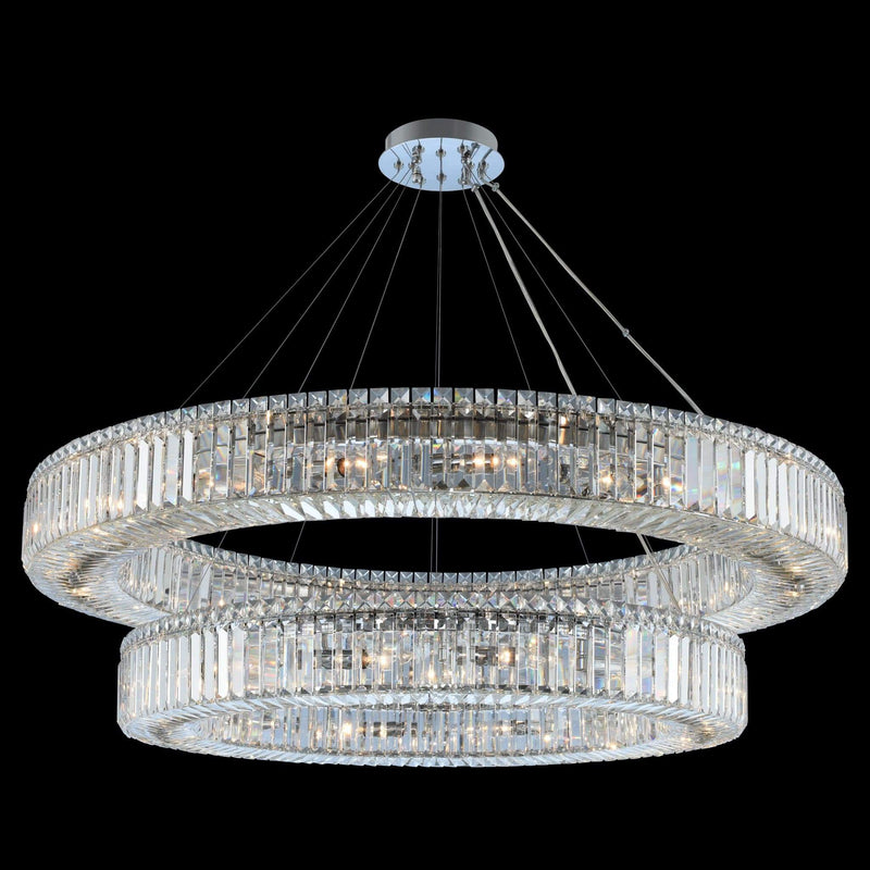 Allegri by Kalco Lighting Pendants Chrome / Firenze Rondelle (36 + 47) Inch 2 Tier Pendant From Allegri by Kalco Lighting 11773