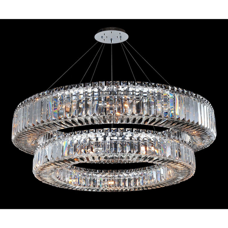 Allegri by Kalco Lighting Pendants Chrome / Firenze Clear Rondelle 36 Inch 2 Tier Pendant From Allegri by Kalco Lighting 11774