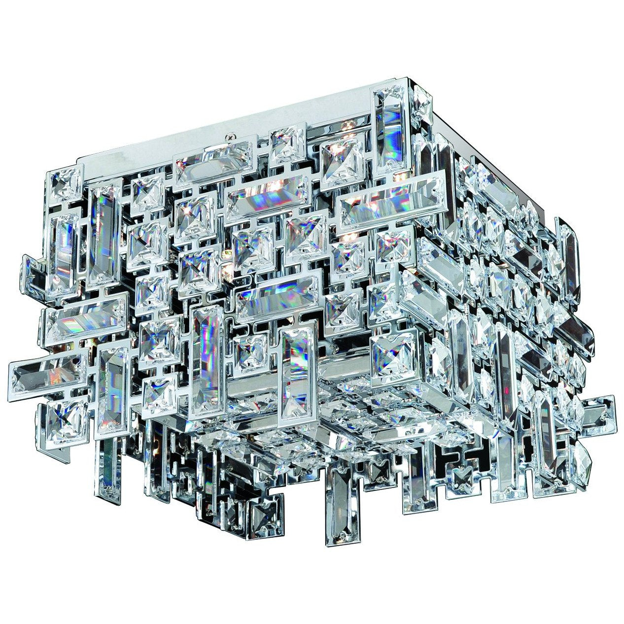 Allegri by Kalco Lighting Flush Mounts Chrome / Firenze Clear Vermeer 4 Light Square Flush Mount From Allegri by Kalco Lighting 11193