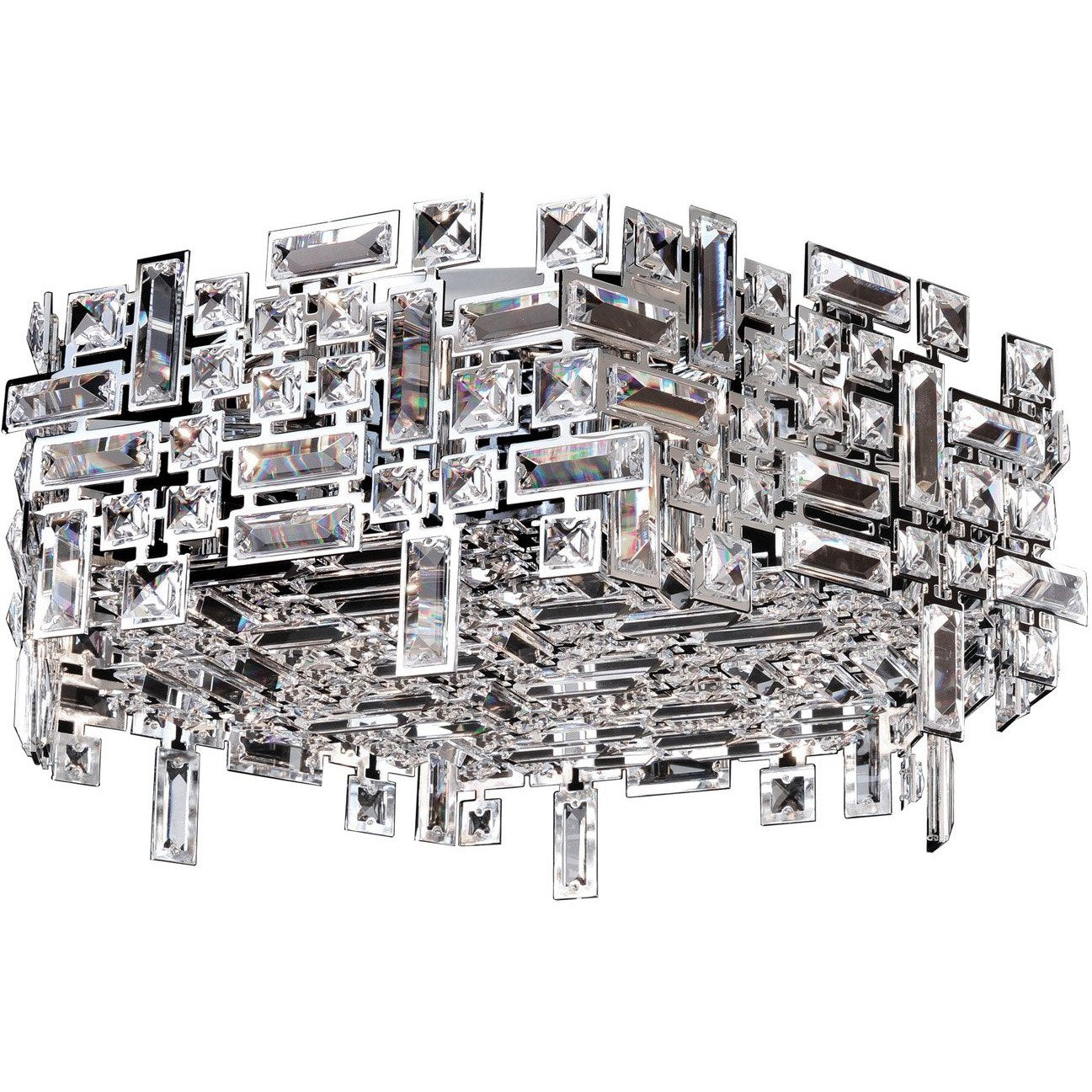 Allegri by Kalco Lighting Flush Mounts Chrome / Firenze Clear Vermeer 6 Light Hex Flush Mount From Allegri by Kalco Lighting 11194