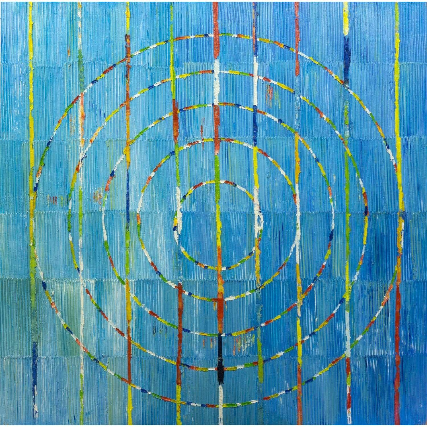 Bromi Design Wall Arts Hand Painted Canvas / Canvas and Wood Stretching Bar Circles Blue Wall Art By Bromi Design BA128