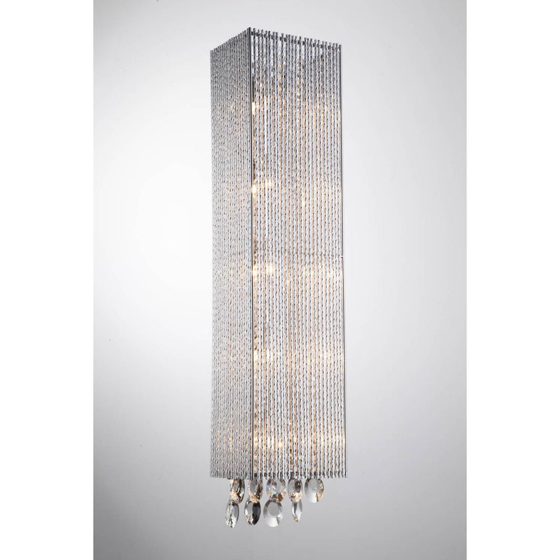 Bromi Design Wall Sconces Chrome / Metal, Crystal Crystalline 5 Light Square Wall Scone By Bromi Design B84675HS