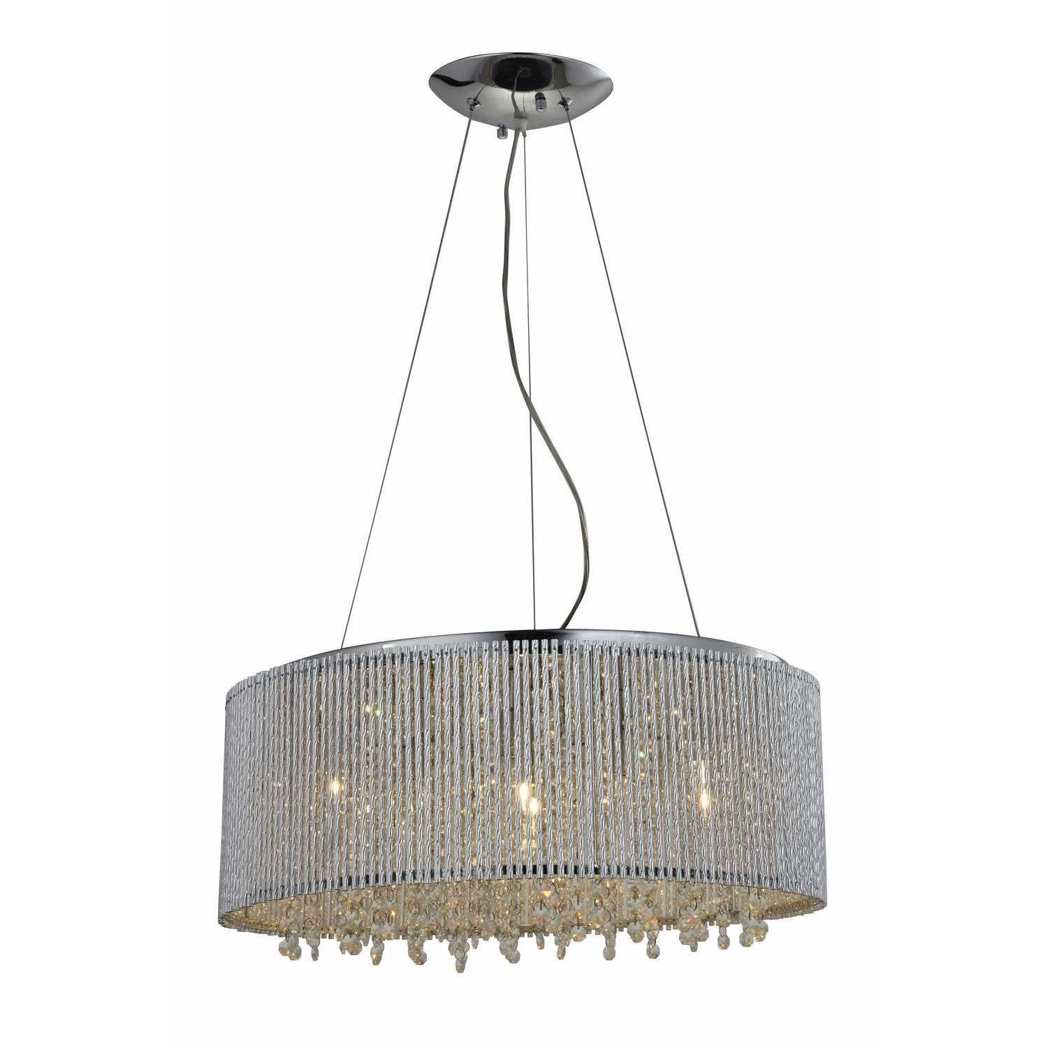 Bromi Design Chandeliers Chrome / Metal, Crystals Crystalline Round Modern Crystals Chandelier By Bromi Design BCP1113-10