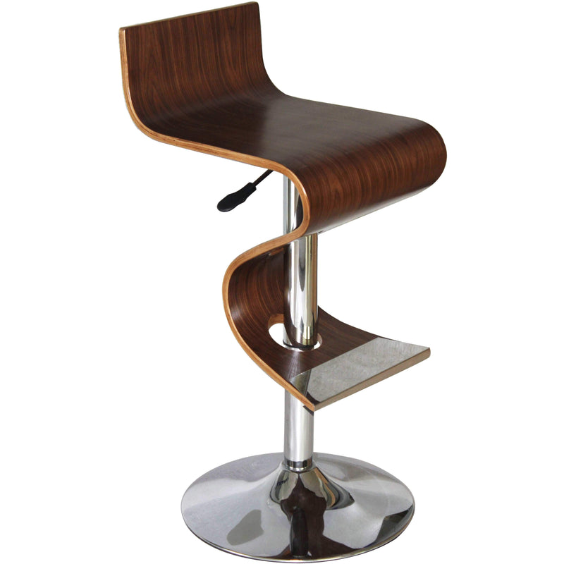 Bromi Design Bar Stools Walnut, Chrome / Faux Leather, Metal King Walnut Adjustable Height Bar Stool  By Bromi Design BF2620WC