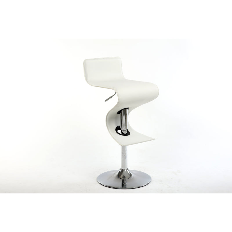 Bromi Design Bar Stools White, Chrome / Faux Leather, Metal King White Adjustable Height Bar Stool  By Bromi Design BF2620WH