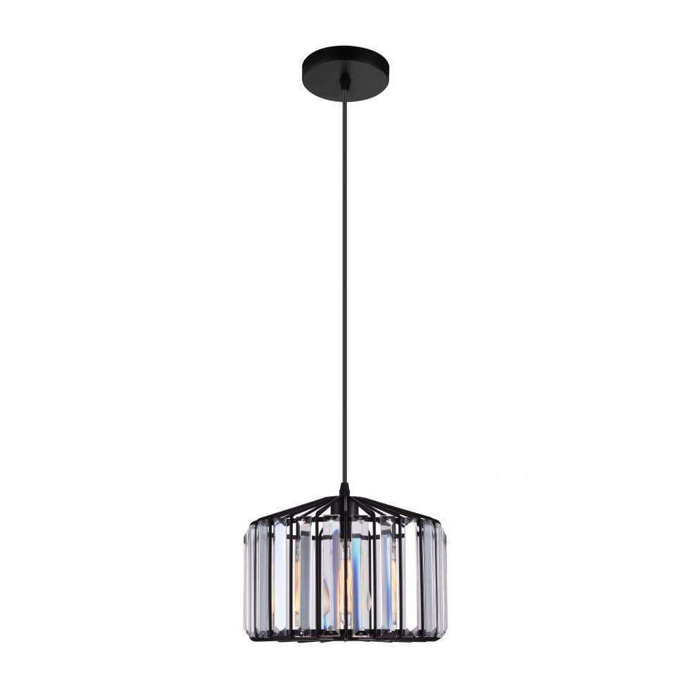 CWI Lighting Pendants Black / K9 Clear Alethia 1 Light Drum Shade Pendant with Black finish by CWI Lighting 9942P10-1-101-C