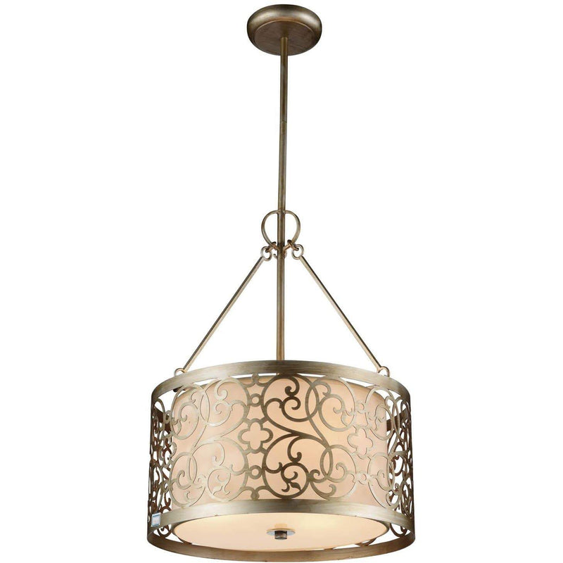 CWI Lighting Chandeliers Rubbed Silver Alexandra 3 Light Drum Shade Chandelier with Rubbed Silver finish by CWI Lighting 9832P15-3-106