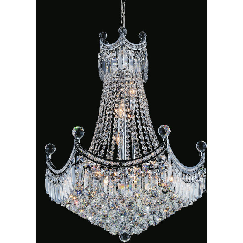 CWI Lighting Chandeliers Chrome / K9 Clear Amanda 11 Light Down Chandelier with Chrome finish by CWI Lighting 8421P24C