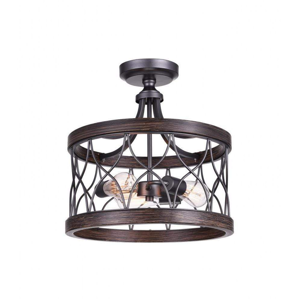 CWI Lighting Semi Flush Mounts Gun Metal Amazon 3 Light Cage Semi-Flush Mount with Gun Metal finish by CWI Lighting 9966C16-3-242