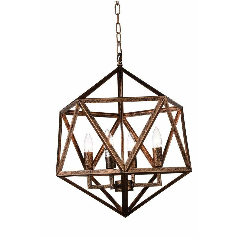 CWI Lighting Pendants Antique forged copper Amazon 4 Light Up Pendant with Antique forged copper finish by CWI Lighting 9641P20-4-128